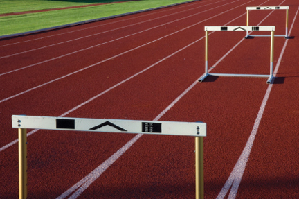 running tracks with three hurdles