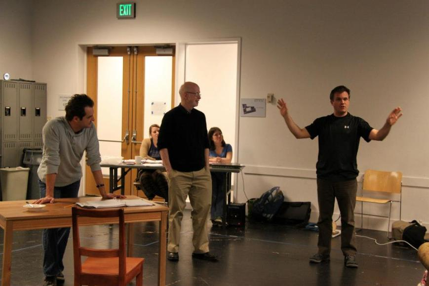 Actor Ray Ficca, playwright Bill Cain, & director Ryan Rilette during a rehearsal for New Book, Round House Theatre, April 2013
